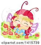 Fairy Butterfly Girl Smelling A Flower