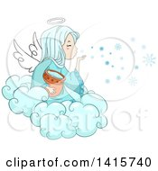 Clipart Of A Winter Angel Girl Blowing Snowflakes From A Cloud Royalty Free Vector Illustration