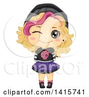 Clipart Of A Blond White Girl In Punk Clothes Royalty Free Vector Illustration