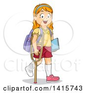 Clipart Of A Red Haired White School Girl Walking With A Crutch Royalty Free Vector Illustration