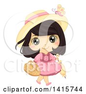 Brunette White Girl Carrying A Picnic Basket And Umbrella