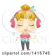 Clipart Of A Blond White Girl Wearing Headphones Singing And Listening To Music On A Media Player Royalty Free Vector Illustration