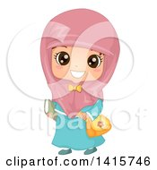 Clipart Of A Happy Muslim School Girl Royalty Free Vector Illustration by BNP Design Studio