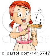 Clipart Of A Red Haired White Girl Playing A Tone Block Royalty Free Vector Illustration
