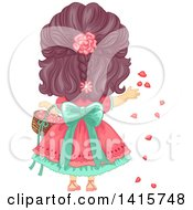 Clipart Of A Rear View Of A Brunette White Girl Tossing Flower Petals Royalty Free Vector Illustration