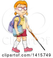 Clipart Of A Red Haired Blind White School Girl Using A Cane Royalty Free Vector Illustration