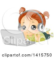 Clipart Of A Brunette White Girl Laying On The Floor Wearing Headphones And Listening To Music On A Laptop Computer Royalty Free Vector Illustration