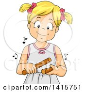 Clipart Of A Blond White Girl Playing Claves Royalty Free Vector Illustration
