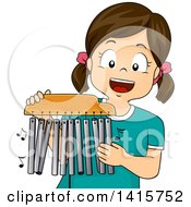 Clipart Of A Brunette White Girl Playing Mark Tree Chimes Royalty Free Vector Illustration