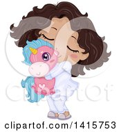 Clipart Of A Cute Black Girl In Her Pajamas Hugging A Unicorn Toy Royalty Free Vector Illustration by BNP Design Studio