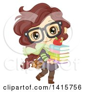 Brunette White School Girl Walking With A Stack Of Books