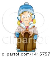 Clipart Of A Blond White Girl Holding Her Brothers Winter Coat Royalty Free Vector Illustration