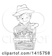 Clipart Of A Black And White Lineart Boy With A Treasure Chest Royalty Free Vector Illustration