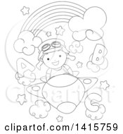 Clipart Of A Black And White Lineart Boy Flying A Plane In Alphabet Clouds Under A Rainbow Royalty Free Vector Illustration