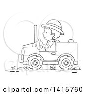 Clipart Of A Black And White Lineart Boy Driving A Safari Jeep Royalty Free Vector Illustration