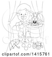 Clipart Of A Black And White Lineart Boy Magician Doing A Magic Trick Royalty Free Vector Illustration