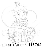 Clipart Of A Black And White Lineart Boy With His Pets Royalty Free Vector Illustration