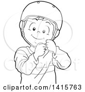 Clipart Of A Black And White Lineart Boy Putting On A Helmet Royalty Free Vector Illustration