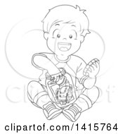 Clipart Of A Black And White Lineart Boy Putting Toys In A Jar Royalty Free Vector Illustration