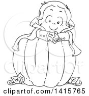 Clipart Of A Black And White Lineart Boy Vampire In A Pumpkin Royalty Free Vector Illustration