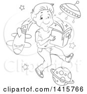 Clipart Of A Black And White Lineart Boy Reading And Imagining That He Is In Outer Space Royalty Free Vector Illustration