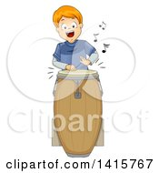 Clipart Of A Red Haired White Boy Playing A Conga Drum Royalty Free Vector Illustration by BNP Design Studio