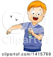 Clipart Of A Red Haired Whtie Boy Applying Insect Repellent Royalty Free Vector Illustration