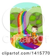 Clipart Of A Brunette White Boy Rafting Down A Rainbow River In A Crayon Kayak Royalty Free Vector Illustration