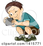 Clipart Of A Brunette White Boy Crouching To Take A Picture With His Smart Phone Royalty Free Vector Illustration