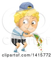 Clipart Of A Mischievous Blond White Boy Throwing Out His Veggies Royalty Free Vector Illustration
