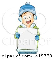 Clipart Of A Brunette White Boy In Winter Gear Holding A Blank Sign Royalty Free Vector Illustration by BNP Design Studio