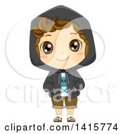 Clipart Of A Brunette Caucasian Boy Wearing A Hoodie Royalty Free Vector Illustration