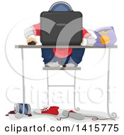 Clipart Of A Sloppy Boy Playing A Computer Game Royalty Free Vector Illustration by BNP Design Studio