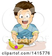 Brunette Caucasian Boy Eating A Star Sandwich And Banana