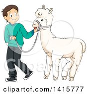Clipart Of A Brunette White Boy Walking A Pet Alpaca Royalty Free Vector Illustration