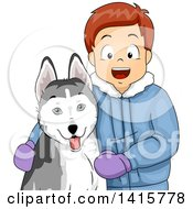 Clipart Of A Happy White Boy With His Siberian Husky Dog Royalty Free Vector Illustration