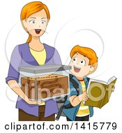 Clipart Of A Red Haired Caucasian Mom And Son With An Ant Farm Royalty Free Vector Illustration by BNP Design Studio