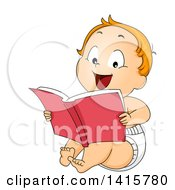 Clipart Of A Red Haired Caucasian Baby Boy Reading A Book Royalty Free Vector Illustration by BNP Design Studio
