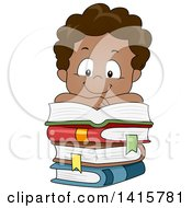 Clipart Of A Happy Black Boy Reading And Resting On A Stack Of Books Royalty Free Vector Illustration by BNP Design Studio