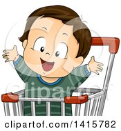 Clipart Of A Brunette White Toddler Boy Cheering In A Shopping Cart Royalty Free Vector Illustration