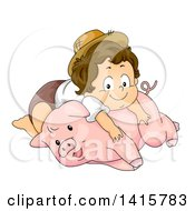 Poster, Art Print Of Brunette White Toddler Farmer Boy Resting On A Pig
