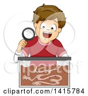 Clipart Of A Brunette White Boy With An Ant Farm Formicarium Royalty Free Vector Illustration