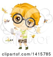 Clipart Of A Caucasian Boy With Glasses Relasing Bugs Royalty Free Vector Illustration