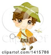 Clipart Of A Brunette White Boy Holding A Magnifying Glass And Observing Nature Royalty Free Vector Illustration