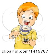 Clipart Of A Red Haired Caucasian Boy Looking At A Horned Beetle Through A Magnifying Glass Royalty Free Vector Illustration by BNP Design Studio
