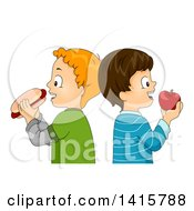 Clipart Of Caucasian Boys Standing Back To Back Eating A Hot Dog And Apple Royalty Free Vector Illustration by BNP Design Studio