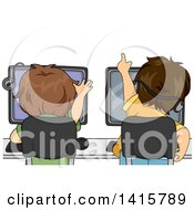 Clipart Of A Rear View Of Brunette Caucasian Boys Playing Games On Computers Royalty Free Vector Illustration