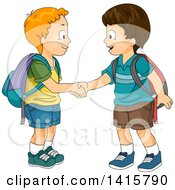 Clipart Of Two Boys Meeting And Shaking Hands Royalty Free Vector Illustration by BNP Design Studio