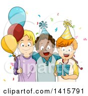 Clipart Of A Group Of Boys At A Birthday Party Royalty Free Vector Illustration