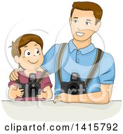 Clipart Of A Brunette White Boy Learning Photography With His Dad Royalty Free Vector Illustration